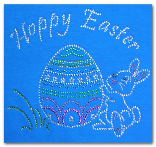 Happy Easter With Bunny Rhinestone T Shirt