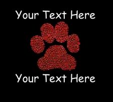 Individual Custom Rhinestone-text and pawprint
