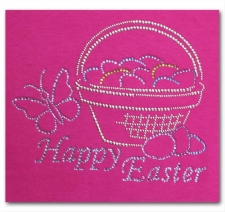 Happy Easter with Basket Rhinestone T-Shirt