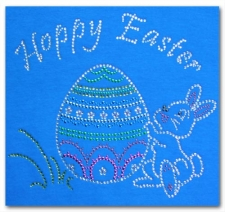 Happy Easter with Bunny Rhinestone T-Shirt