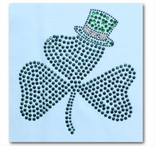 Clover Leaf with Hat Rhinestone T-Shirt